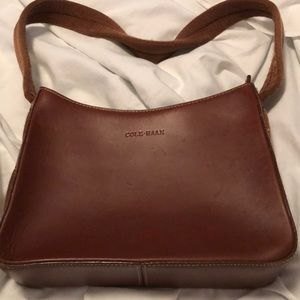 Authentic Leather Cole Haan with cloth strap purse